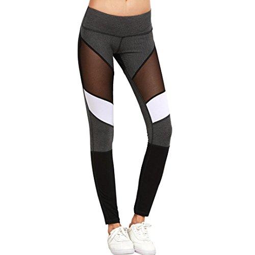 NewKelly Women Sport Pants High Waist Workout Leggings Fitness Trousers For YOGA Running (L)