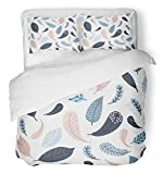 Emvency 3 Piece Duvet Cover Set Breathable Brushed Microfiber Fabric Baby Arrows Boho Bohemian Boy Feathers Girl Kids Nature Pastel Spring Bedding Set with 2 Pillow Covers Twin Size