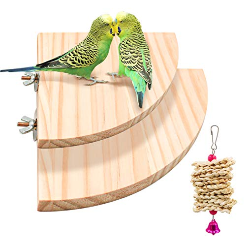 suruikei 2 Pack Bird Perch Platform, Parrot Stand Sector Playground Wood Perch Stand Toy Cage Accessories Exercise Toy for Parakeet Conure Cockatiel Budgie Gerbil Rat Mouse Chinchilla Hamster (Set 2)