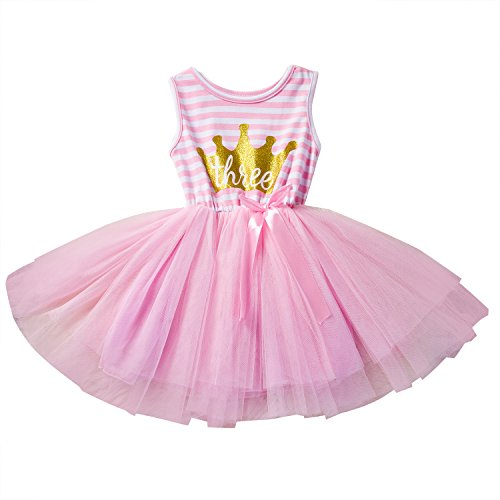 NNJXD Girl Shinny Stripe Baby Girl Printed Tutu Dress Size (100) 2-3 Years (Perfectly Princess Tutu Dress)