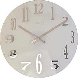 NexTime Frosted Glass Wall Clock, White/Silver