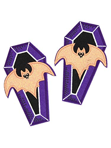 Cousin DIY 39999235 Pair of Sparkle Bat & Coffin Elbow Iron-On Patch, Purple/Orange (Coffin Patch)