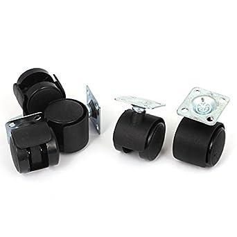 eDealMax 25mm 1 pulgada Dia Plástico Metal Rueda Con placa Superior ruedas giratorias 5 x