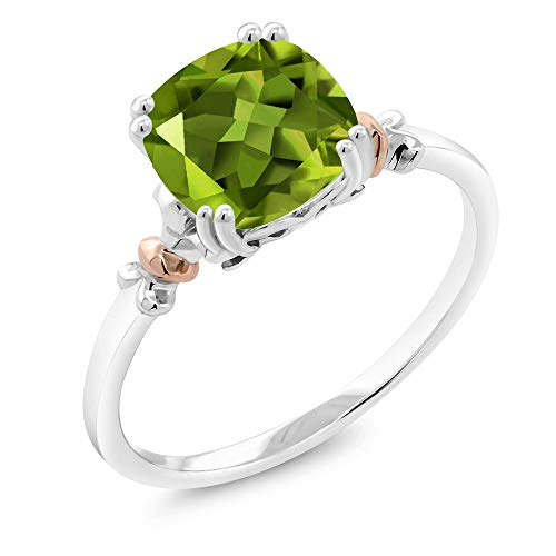 Gem Stone King 925 Sterling Silver and 10K Rose Gold Ring Green Peridot 2.45 cttw, 8x8mm Cushion (Size 7)