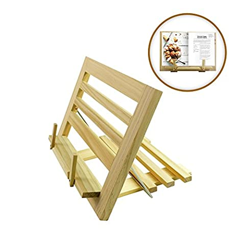 My Book Holder | Adjustable Folding Wooden Cookbook Stand | Reading Rest Display Holder for Music Sheet Recipe Books Document Gadget iPad | (Cabinet For Sheet Music)