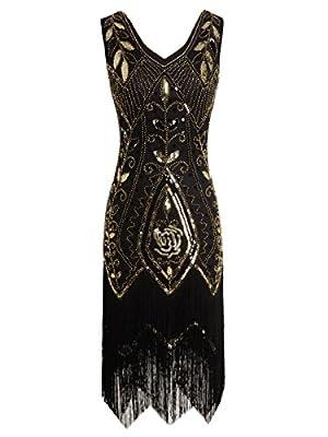 FAIRY COUPLE 1920s Gatsby Sequined Tassels Hem Flapper Prom Dress D20S012