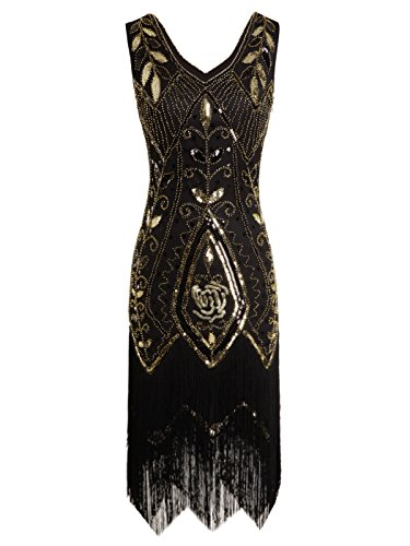 FAIRY COUPLE 1920s Gatsby Sequined Tassels Hem Flapper Prom Dress D20S012(S,Black Gold) by FAIRY COUPLE