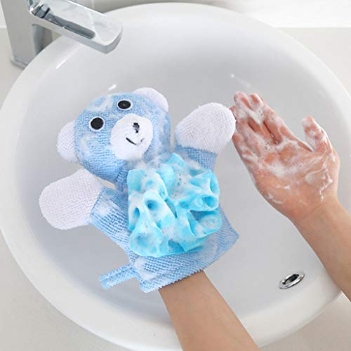TANGON Kids Toy Pouf Bath Rub Gloves Shower Body Wash Puff Mesh Sponges with Stuffed Animal Loofah Body Scrubber Gift for 2-14 Year Old Boy and Girl (Blue) ()