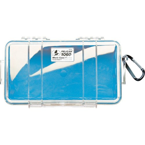 Pelican 1060-026-100 Micro Case with Clear Lid and Carabineer (Blue)