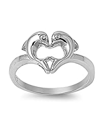 Sterling Silver Women's Heart Love Dolphins Ring Promise Band 10mm Sizes 4-11