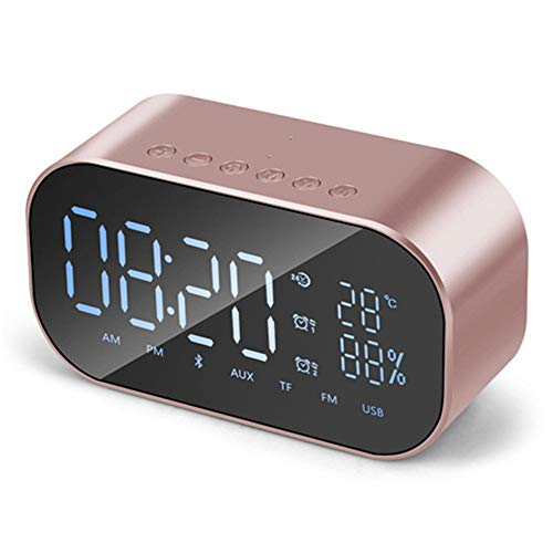Alarm Clock Radio,Miya FM Radio Wireless Bluetooth Speaker with Super Deep Bass Support TF Card USB Port Disk Player Temperature LCD Screen Alarm for iPhone Android Smartphone Table - Rose Gold
