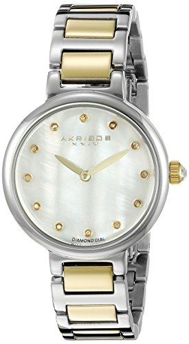 Akribos XXIV Women's AK877TTG Round White Mother of Pearl Dial Two Hand Quartz Two Tone Bracelet Watch