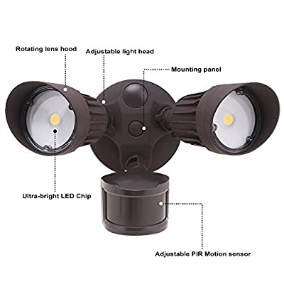 20W Dual-Head Motion Activated LED Outdoor Security Light, Photo Sensor, 3 Work Modes, DLC-listed, 120W Halogen Equiv.,5000K Daylight, 1600Lm Floodlight, Entryways, Porch (Bronze)