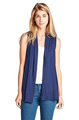 ReneeC. Women's Extra Soft Natural Bamboo Sleeveless Cardigan - Made in USA (2X-Large, Navy)