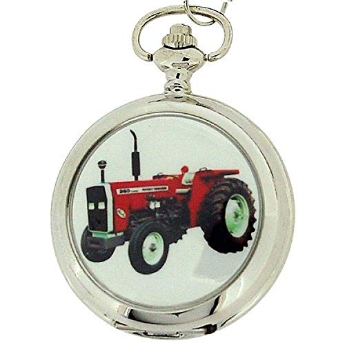 Boxx Gents White Dial Tractor Pocket Watch on 12 Inch Chain Boxx88 ()