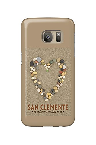 San Clemente Is Where My Heart Is - California - Stone Heart on Sand (Galaxy S7 Cell Phone Case, Slim Barely - San Clemente Is Where California