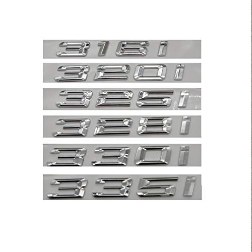 Chrome Silver ABS Number Letters Word Car Trunk Badge Emblem Emblems 318i 316i 320i 330i 335i 325i 328i 340i (330i)
