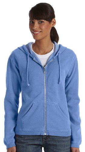 Full Flo Hood - Comfort Colors Ladies 10 Oz. Garment-Dyed Full-Zip Hood, Small, Flo Blue