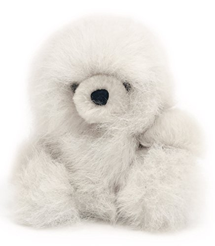 Baby Alpaca Fur Sitting Snowball Chubby Bear - Hand Made 5+ Inch White - Each Bear is Unique