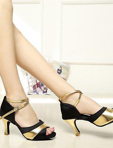 ShangYi Sonne lisa Salsa anpassbare Frauen Sandalen Satin Schnalle Tanzschuhe (weitere Farben) black and gold