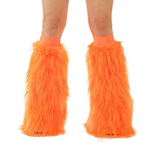 [TrYptiX Women's Fluffy Leg Warmers Neon Orange One Size Hot Orange Kneebands] (Furry Rave Boots)
