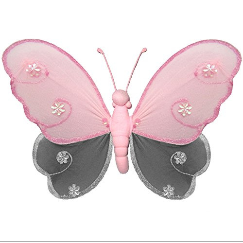 Hanging Butterfly Medium 10 Pink Gray Grey Hailey Nylon Butterflies Mesh Decorations Decorate Baby Nursery Bedroom Girls Room Ceiling Wall Decor Birthday Party Baby Shower Bathroom Kid 3D Art DIY