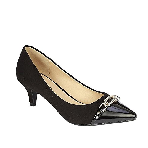 Coshare Women's Fashion Patent Embellished Front Low Heel Pumps Black 8.5