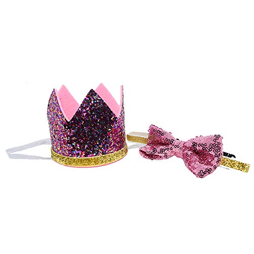 Petsidea Cute Pet Birthday Crown Hat and Bow tie Collar Set for Dog Cat Birthday Party Supplies (Purple) by Petsidea (Image #4)