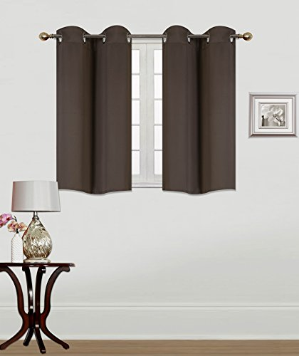GorgeousHomeLinen (K30) 2 PC 30″ X 36″ (each) Kitchen Silver Grommets Window Tier Curtain Panel Unlined Thermal Heavy Thick Insulated 100% Blackout in Assorted Solid Colors (BROWN)
