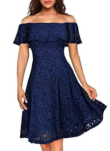 6ac280d643b YIXUAN Women s Vintage Off Shoulder Dresses Floral Lace Party Cocktail  Swing Dress Navy Blue XX-