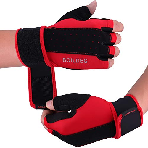 boildeg Workout Gloves Weight Lifting Gloves Breathable & Non-Slip Full Palm Protection & Extra Grip for Pull Ups,Cross Training,Cycling,Bodybuilding,Fitness,Suits Men & Women (RED, M)