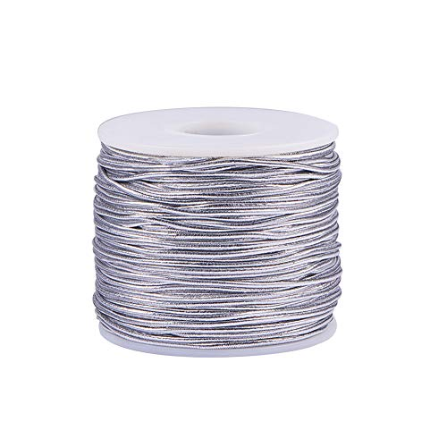 PH PandaHall 2mm 50m/ 54 Yards Metallic Tinsel Elastic Cord Polyester Ribbon Stretch Cord Jewelry Making Gift Wrap Ribbon, Silver ()