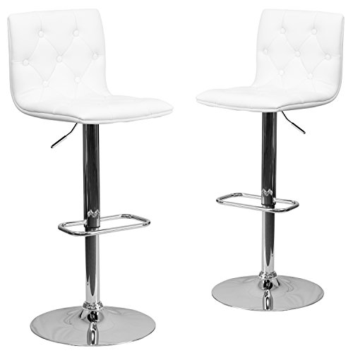 - Flash Furniture 2 Pk. Contemporary Tufted White Vinyl Adjustable Height Barstool with Chrome Base