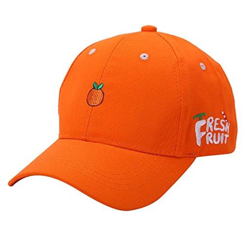 [DDLBiz Women Girls Summer Fruit Embroidered Golf Hat Adjustable Baseball Cap (Orange)] (Fruit Hat Lady)