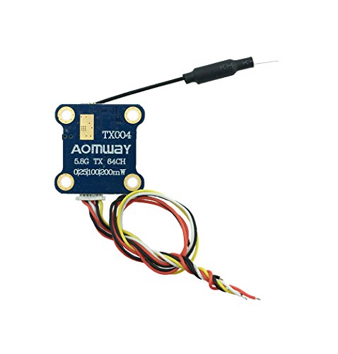 Aomway TX004 Mini FPV Video Transmitter VTX 64CH Pit Mode 25/100/200MW Switchable Transmitter(OSD menu for settings)for Racing Drone Quadcopter by Crazepony