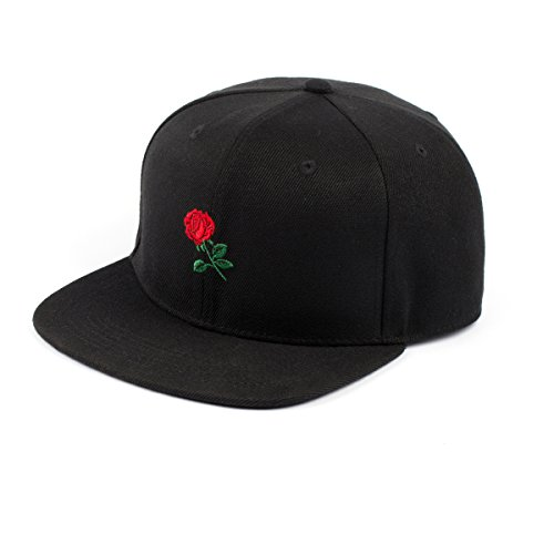 5389da8b6e4f0 AUNG CROWN Rose Embroidered Flat Bill Snapback Baseball Cap (Black Snapback)