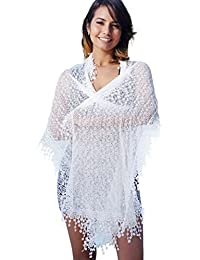 Lightweight Soft Leaf Lace Fringes Scarf shawl for Women