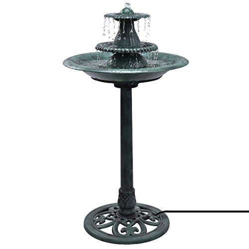 Giantex 3 Tier Fountain Garden Outdoor Decor Pedestal Bird Bath Water Fountain W/Pump by Giantex