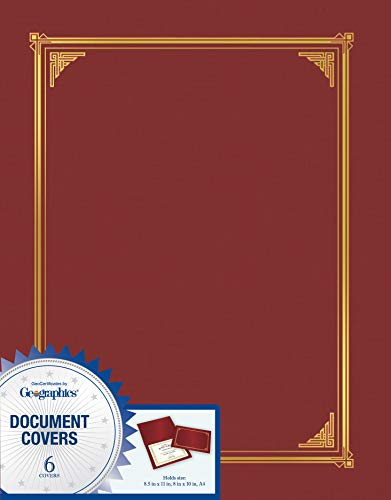 Geographics 45333 Certificate/Document Cover, 12 1/2 x 9 3/4, Burgundy (Pack of 6) ()
