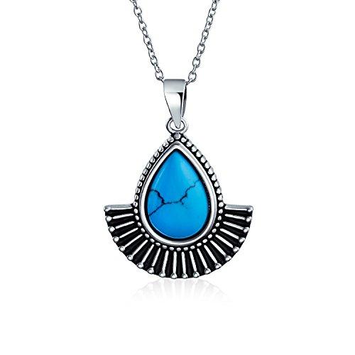 Native American Indian Style Oxidized .925 Silver Sky Blue Resin Teardrop Fan Pendant Necklace For Women 18 inch