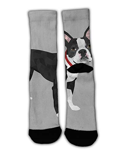 GLORY ART Colorful Dress Socks,Boston Terrier, Teen Kids Boys Cool Novelty Funny Casual Cotton Crew Socks Slipper Socks Cozy Winter Socks -