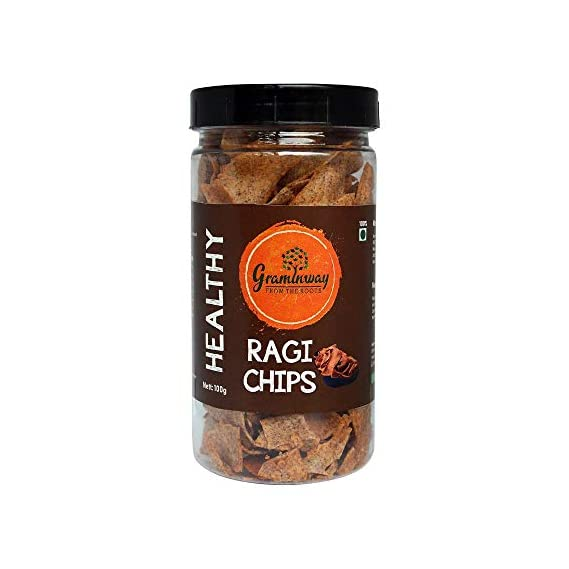 Graminway Healthy Ragi Chips | Roasted Crunchy Evening Munchies, 100 Grams, Pack of 1