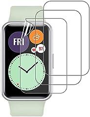 PUBUNUS 3 Piezas Protector de Pantalla para Huawei Watch Fit, Película Suave HD Ultrafina, Resistente a Rayone