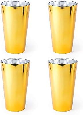 eBuyGB - Vaso de cristal metálico para fiesta (480 ml), diseño moderno de bola alta, color plateado, vidrio, dorado, Pack de 4: Amazon.es: Hogar
