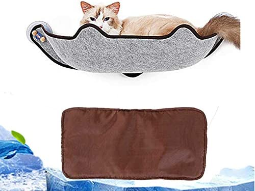 KOBWA Cat Window Mounted Bed, Cat Window Perch Hammock Bed Kitty Sunny Winter Mats Fraes 10KG Cat Basking Window Hammock with 1 Mat and 3 Large Suction Cups
