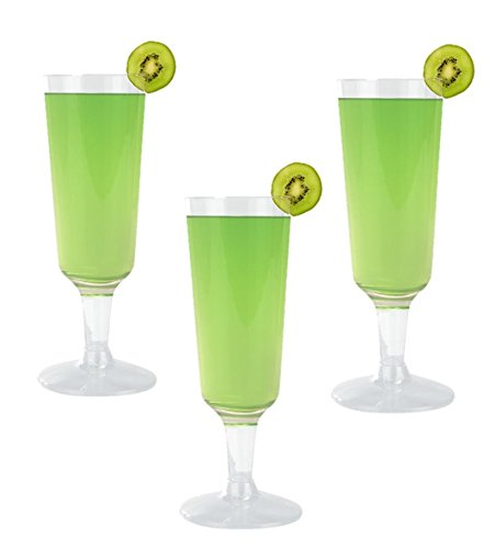 High Quality Hard Plastic Clear Champagne Flutes. Premium Wine Cocktail Party Cups 5.5 Ounce Capacity, Set of 18 Disposable Glass Drinkware Stemware.