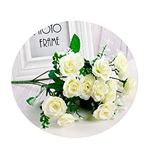 Elibone 15 Heads Roses Artificial Flowers Flores Artificiales Silk Flowers Branches Garland Fake Flowers Bouquet Artificial Flowers 113