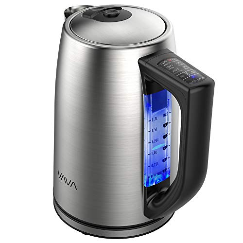 Electric Kettle, VAVA Stainless Steel Tea Kettle Adjustable Temperature Control 1.7L Cordless Hot Water Boiler Heater BPA-Free Build, FDA Approved, Keep Warm Function, Strix Control Upgraded Version