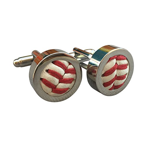 Authentic Leather Baseball Cufflinks