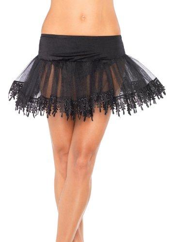 Leg Avenue Women's Teardrop Lace Petticoat Dress, Black, One Size